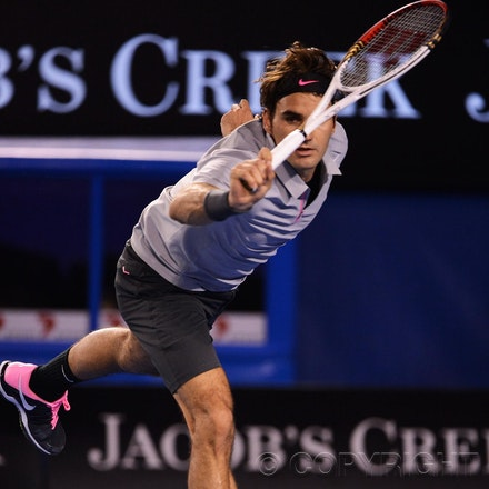 Blakeman_2013_0028968 - 23/1/13, Melbourne, Australia, Day 10 of the Australian Open Tennis. Roger FEDERER (SUI) defeats Jo-Wilfried TSONGA (FRA) 7(7)-6(4),...