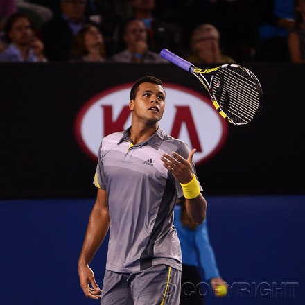 Blakeman_2013_0029136 - 23/1/13, Melbourne, Australia, Day 10 of the Australian Open Tennis. Roger FEDERER (SUI) defeats Jo-Wilfried TSONGA (FRA) 7(7)-6(4),...