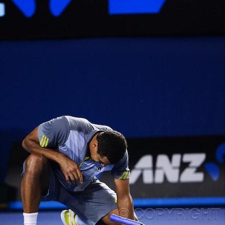 Blakeman_2013_0029168 - 23/1/13, Melbourne, Australia, Day 10 of the Australian Open Tennis. Roger FEDERER (SUI) defeats Jo-Wilfried TSONGA (FRA) 7(7)-6(4),...