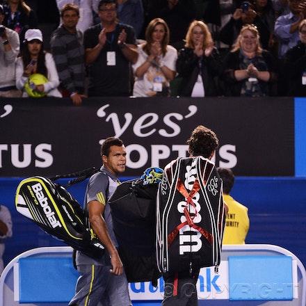 Blakeman_2013_0029228 - 23/1/13, Melbourne, Australia, Day 10 of the Australian Open Tennis. Roger FEDERER (SUI) defeats Jo-Wilfried TSONGA (FRA) 7(7)-6(4),...