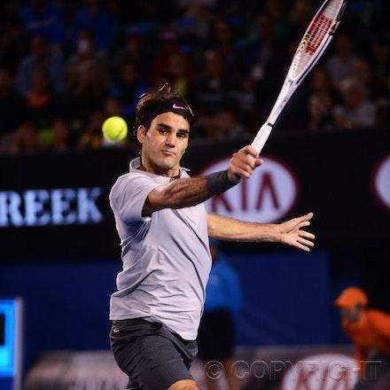 Blakeman_2013_0029321 - 23/1/13, Melbourne, Australia, Day 10 of the Australian Open Tennis. Roger FEDERER (SUI) defeats Jo-Wilfried TSONGA (FRA) 7(7)-6(4),...