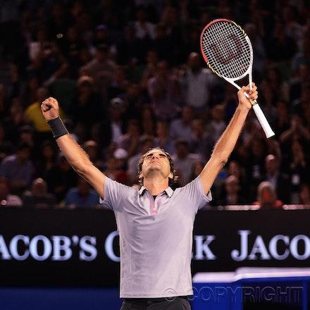 Blakeman_2013_0029357 - 23/1/13, Melbourne, Australia, Day 10 of the Australian Open Tennis. Roger FEDERER (SUI) defeats Jo-Wilfried TSONGA (FRA) 7(7)-6(4),...