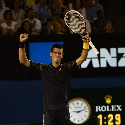 Blakeman_2013_0031164 - 24/1/13, Melbourne, Australia, Day 11 of the Australian Open Tennis. Novak DJOKOVIC (SRB) defeats David FERRER (ESP) 6-2, 6-2,...