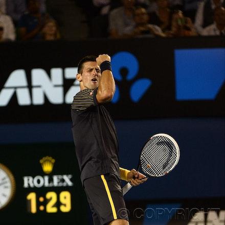 Blakeman_2013_0031177 - 24/1/13, Melbourne, Australia, Day 11 of the Australian Open Tennis. Novak DJOKOVIC (SRB) defeats David FERRER (ESP) 6-2, 6-2,...