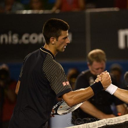 Blakeman_2013_0031209 - 24/1/13, Melbourne, Australia, Day 11 of the Australian Open Tennis. Novak DJOKOVIC (SRB) defeats David FERRER (ESP) 6-2, 6-2,...