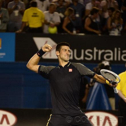 Blakeman_2013_0031254 - 24/1/13, Melbourne, Australia, Day 11 of the Australian Open Tennis. Novak DJOKOVIC (SRB) defeats David FERRER (ESP) 6-2, 6-2,...