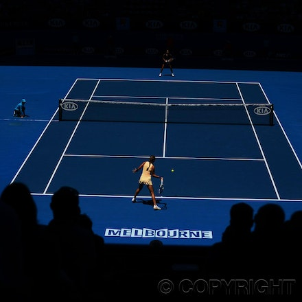 Blakeman_2013_0015609 - 18/1/13, Melbourne, Australia, Day 6 of the Australian Open Tennis. Victoria AZARENKA (BLR) defeats Jennie HAMPTON (USA) 6-4, 4-6,...