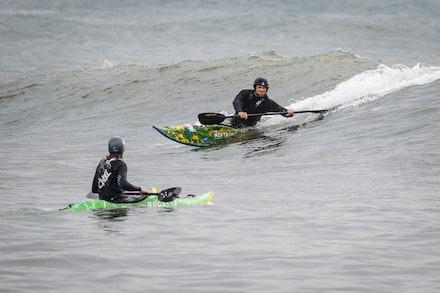 140413_surfkayaking_4909 - JBK staff member Matt Goodwin surf kayaking  at Huskisson (Jervis Bay), NSW (Australia) on April 13 2014. Photo: Jan Vokaty