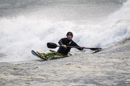 140413_surfkayaking_4961 - JBK staff member Matt Goodwin surf kayaking  at Huskisson (Jervis Bay), NSW (Australia) on April 13 2014. Photo: Jan Vokaty