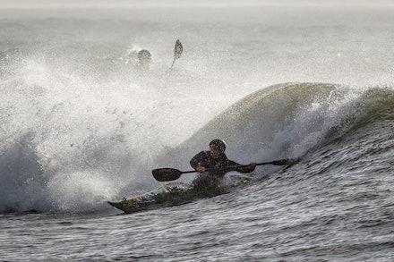 140413_surfkayaking_5301 - JBK instructor Matt Goodwin surf kayaking at Huskisson (Jervis Bay), NSW (Australia) on April 13 2014. Photo: Jan Vokaty