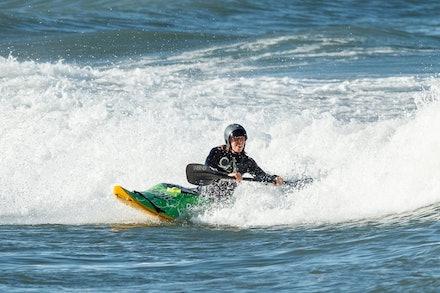 140413_surfkayaking_5818 - World Champion Tracy Gibson surf kayaking  at Huskisson (Jervis Bay), NSW (Australia) on April 13 2014. Photo: Jan Vokaty