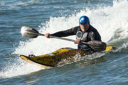 140413_surfkayaking_5855 - Ross Boardman of JB Kayaks surf kayaking  at Huskisson (Jervis Bay), NSW (Australia) on April 13 2014. Photo: Jan Vokaty