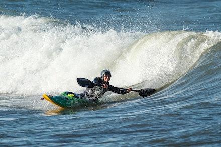 140413_surfkayaking_5915 - JBK instructor Tracy Gibson surf kayaking at Huskisson (Jervis Bay), NSW (Australia) on April 13 2014. Photo: Jan Vokaty