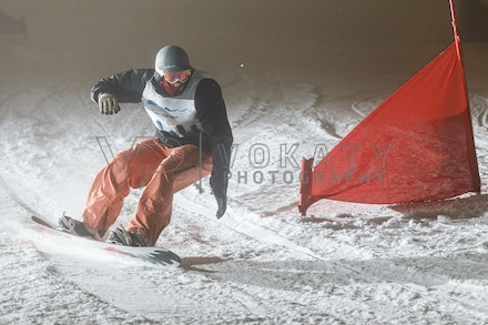 140811_DefenceForce_3011 - Army/Navy/Airforce athletes competing during night dual snowboard race at Perisher, NSW (Australia) on August 11 2014. Photo:...