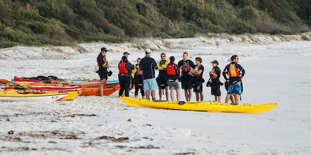 140405_GreenPatch_3583 - Sea kayakers are getting ready for the day on the water at Green Patch (Jervis Bay). April 05 2014. Photo: Jan Vokaty