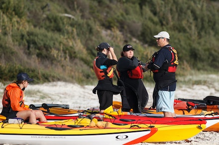 140405_GreenPatch_3687 - Sea kayakers are getting ready for the day on the water at Green Patch (Jervis Bay). April 05 2014. Photo: Jan Vokaty