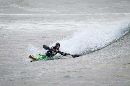 140413_surfkayaking_4847 - World Champion Tracy Gibson surf kayaking  at Huskisson (Jervis Bay), NSW (Australia) on April 13 2014. Photo: Jan Vokaty