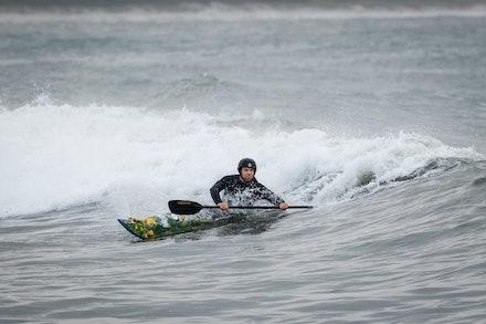 140413_surfkayaking_4874 - JBK staff member Matt Goodwin surf kayaking  at Huskisson (Jervis Bay), NSW (Australia) on April 13 2014. Photo: Jan Vokaty