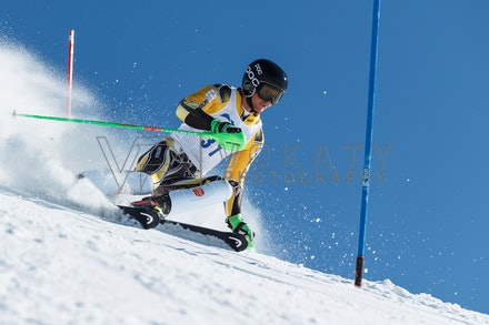 140814_FIS_SL2_4590 - Athlete competing in FIS Slalom race on Hypertrail at Perisher, NSW (Australia) on August 14 2014. Jan Vokaty