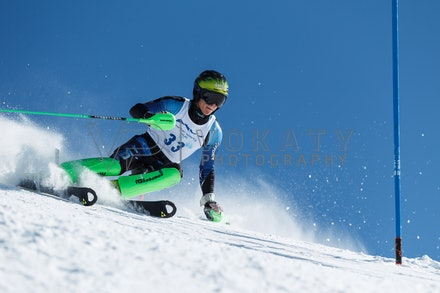 140814_FIS_SL2_4600 - Athlete competing in FIS Slalom race on Hypertrail at Perisher, NSW (Australia) on August 14 2014. Jan Vokaty