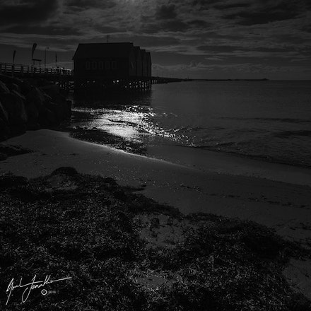 Busselton Jetty At Night Black And White
