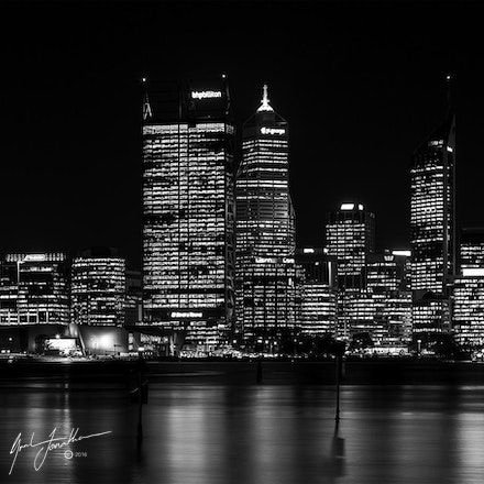 Perth City Night BW