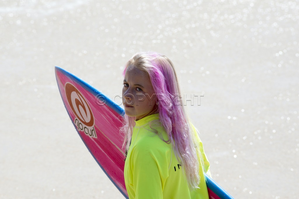 Pink Haired Surf Girl - Shot at the MA and PA Bendall surf comp 2017 at Moffett Beach on the sunshine coast.