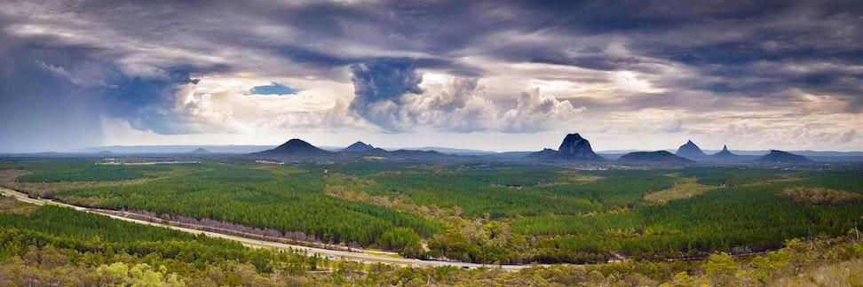 Stormset - Glasshouse Mountains - Stitched Panorama