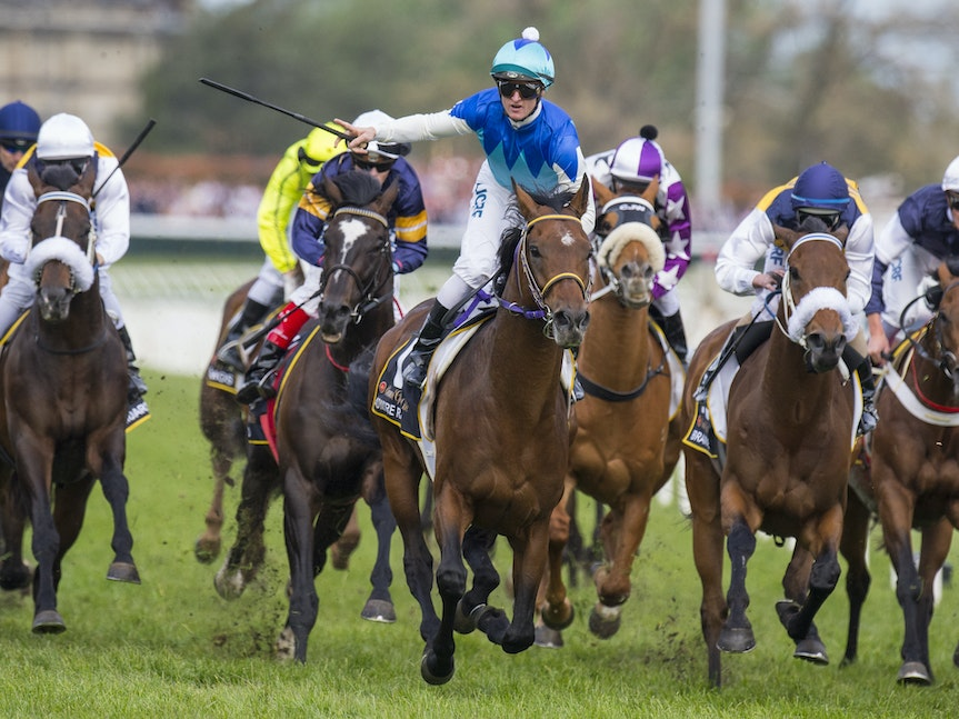 AdmireRatki-PurtonZac-10182014-7063 - Admire Ratki (Heart's Cry - Admire Teresa) wins the G1 Caulfield Cup for Japan on 18 October 2014.  Ridden by Zac...