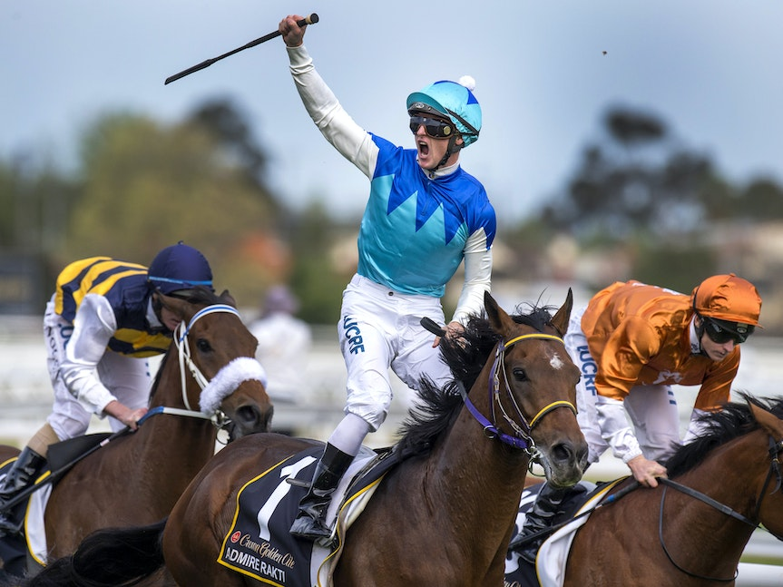 AdmireRatki-PurtonZac-10182014-7083 - Admire Ratki (Heart's Cry - Admire Teresa) wins the G1 Caulfield Cup for Japan on 18 October 2014.  Ridden by Zac...