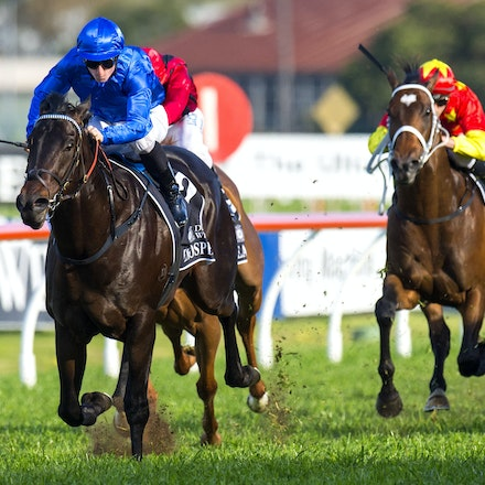 Exosphere-McDonaldJames-09122015-3438 - Exosphere (Lonhro - Altitude) wins the G1 Golden Rose on 12 September 2015.  He was ridden by James McDonald and...