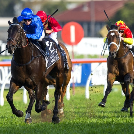 Exosphere-McDonaldJames-09122015-3439 - Exosphere (Lonhro - Altitude) wins the G1 Golden Rose on 12 September 2015.  He was ridden by James McDonald and...