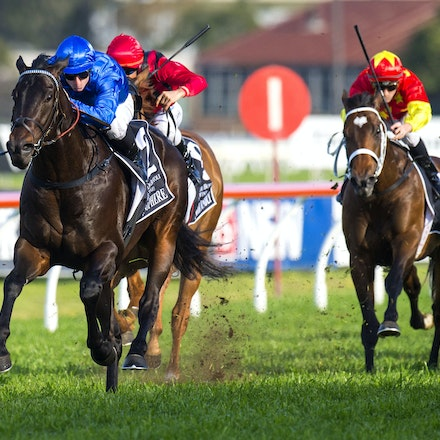 Exosphere-McDonaldJames-09122015-3440 - Exosphere (Lonhro - Altitude) wins the G1 Golden Rose on 12 September 2015.  He was ridden by James McDonald and...