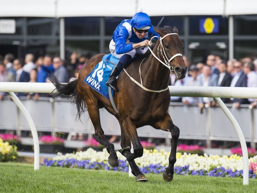 Winx-BowmanHugh-10242015-7604 - Winx (Street Cry - Vegas Showgirl) wins the G1 WS Cox Plate on 24 October 2015.  She was ridden by Hugh Bowman and trained...