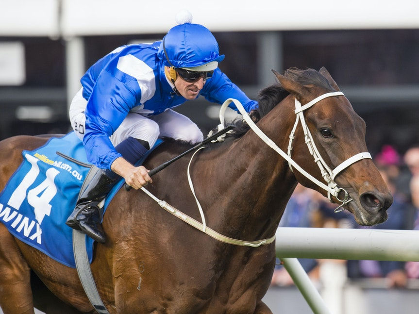 Winx-BowmanHugh-10242015-7616 - Winx (Street Cry - Vegas Showgirl) wins the G1 WS Cox Plate on 24 October 2015.  She was ridden by Hugh Bowman and trained...