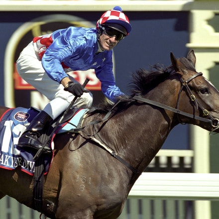 MakybeDiva-6259-34a - Makybe Diva and Glen Boss winning the 2003 Melbourne Cup.
