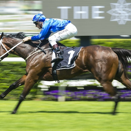 Winx-BowmanHugh-02172018-8253 - WINX (Street Cry - Vegas Showgirl) wins her Official Barrier Trial at Randwick Racecourse.  Ridden by Hugh Bowman.  Photo...