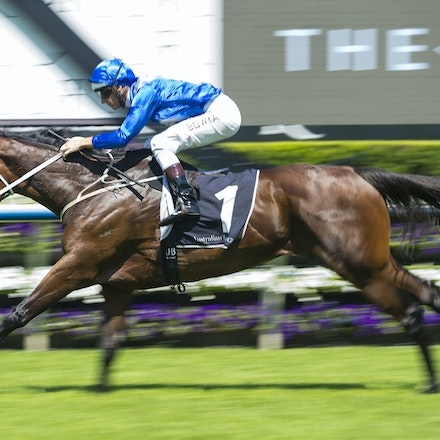 Winx-BowmanHugh-02172018-8249 - WINX (Street Cry - Vegas Showgirl) wins her Official Barrier Trial at Randwick Racecourse.  Ridden by Hugh Bowman.  Photo...