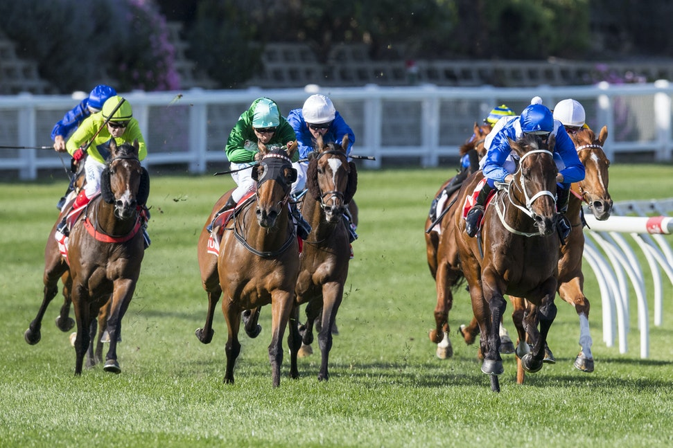 Winx-BowmanHugh-10282017-7123 - Champion mare WINX equals Kingston Town's record of 3 Cox Plate.  Ridden by Hugh Bowman.  Photo - Bronwen Healy.  The Image...