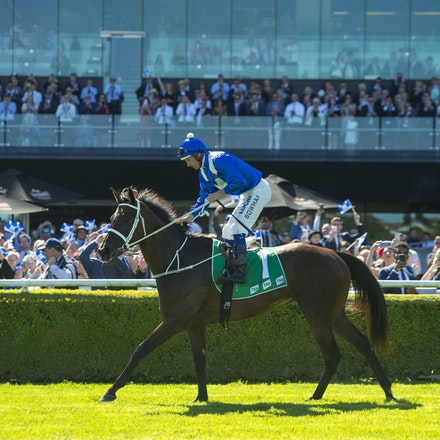 Winx-BowmanHugh-03032018-1056 - WINX (Street Cry - Vegas Showgirl) wins the G1 Chipping Norton Stakes.  Ridden by Hugh Bowman.  Photo - Bronwen Healy....