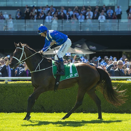 Winx-BowmanHugh-03032018-1060 - WINX (Street Cry - Vegas Showgirl) wins the G1 Chipping Norton Stakes.  Ridden by Hugh Bowman.  Photo - Bronwen Healy....