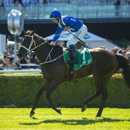 Winx-BowmanHugh-03032018-1064 - WINX (Street Cry - Vegas Showgirl) wins the G1 Chipping Norton Stakes.  Ridden by Hugh Bowman.  Photo - Bronwen Healy....