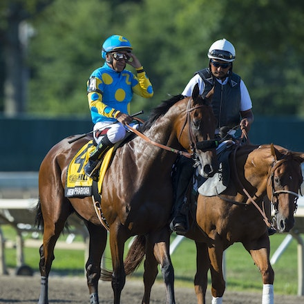 AmericanPharoah-EspinozaVictor-08022015-5858 - 2015 Triple Crown winner American Pharoah (Pioneerof The Nile - Littleprincessemma) wins the G1 Haskell...
