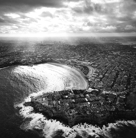 Bondi Beach from a Helicopter - Iconic Bondi Beach photographed with a Rolleiflex camera and black and white film whilst hovering over the Northern end...