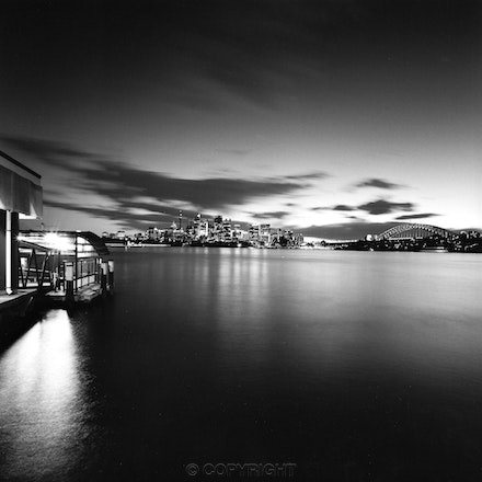 Cremorne Point Wharf on a summers evening - Photographed on a balmy summers evening with a Hasselblad Camera ,mounted on a tripod ,and with the film exposed...