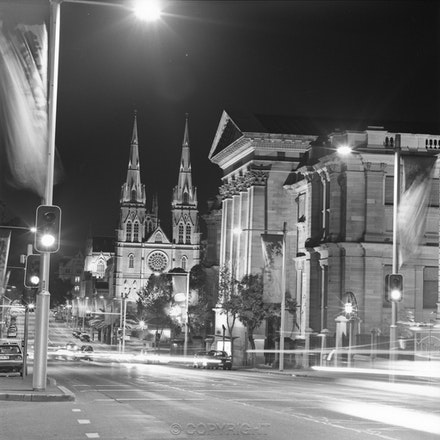 St Mary's College St Sydney - Photographed on a Sunday night with a Hasselblad camera on a tripod.The length of exposure is indicated by the horizontal...