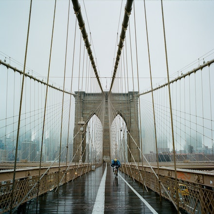 New York Rider Brooklyn Bridge at Christmas - Each archival photograph is stamped and signed by Robert and a brief description of how it was taken.