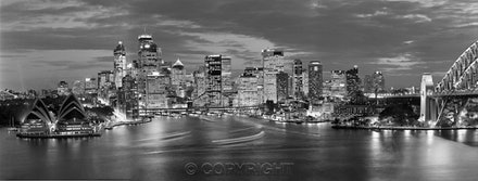 Sydney Lights skyline on a summer  evening. - Photographed in 2000 with a Hasselblad camera ,tripod mounted from the 17th floor of a Kirribilli apartment...