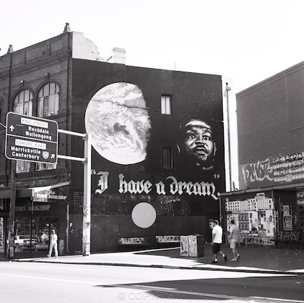 Newtown 'I Have A Dream' - Photographed in 1999.  Each archival photograph is stamped and signed by Robert and a brief description of how it was taken.