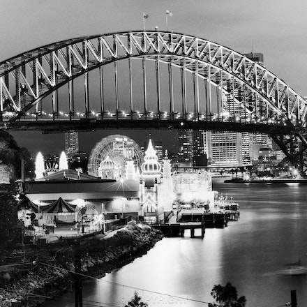 Luna Park Bridge at Night - As seen from Lavender Bay .  Each archival photograph is stamped and signed by Robert and a brief description of how it was...